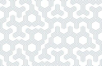 Naklejka Bezszwowy geometryczny wzór z sześciokątami i liniami. Nieregularna struktura wydruku tkaniny. Monochromatyczny abstrakcjonistyczny tło.