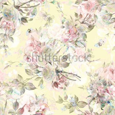 Naklejka Bezszwowy róża wzór i bumble pszczoła RY