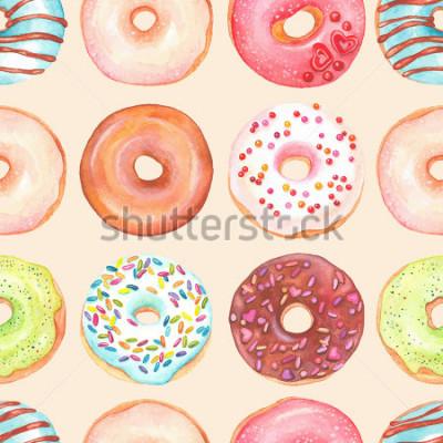 Naklejka Bezszwowy tło akwareli kolorowi donuts glazurujący.