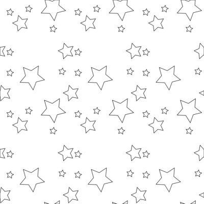 Naklejka Bezszwowy wektoru wzór z barwionymi gwiazdami różnorodni rozmiary na białym tle.