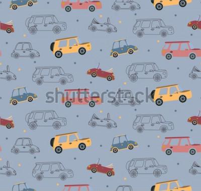 Naklejka Bezszwowy wektoru wzór z barwionymi zabawkarskimi samochodami