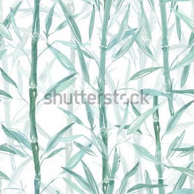 Naklejka Bezszwowy wzór botaniczny. Bambusowe gałęzie na białym tle. Stylowy wzór.
