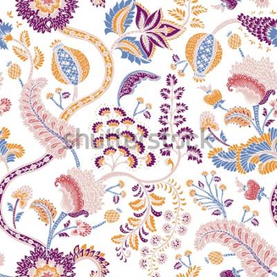 Naklejka Bezszwowy wzór z fantazja kwiatami, naturalna tapeta, kwiecista dekoracja fryzuje ilustrację. Ręcznie rysowane elementy wydruku Paisley. Wystrój domu.