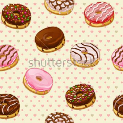 Naklejka Bezszwowy wzór z kolorowymi smakowitymi donuts