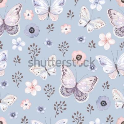Naklejka Bezszwowy wzór z latającymi motylami i kwiatami w błękicie matuje tło, wektorowa ilustracja.
