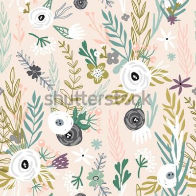 Naklejka Bezszwowy wzór z ręka rysującymi kwiatami. Kreatywne tło botaniczne. Idealny do odzieży dziecięcej, tkaniny, tekstyliów, dekoracji przedszkola, papieru do pakowania. Ilustracja wektorowa