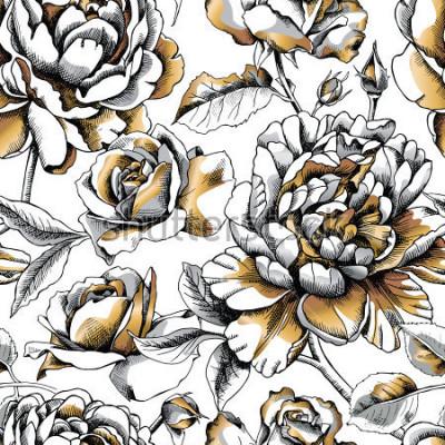 Naklejka Bezszwowy wzór z wizerunku złotem Peoni i Wzrastał na białym tle. Ilustracji wektorowych.