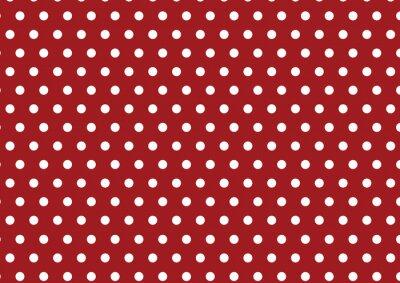 Naklejka białe kropki polka na czerwonym tle