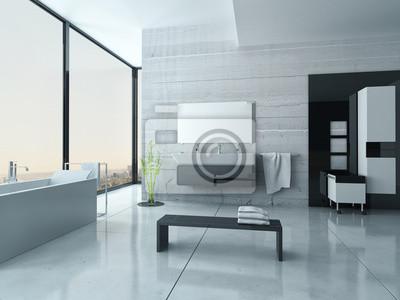 Białe Wnętrza łazienki Z Betonowych ścianach I Podłodze Kafelki Naklejki Redro
