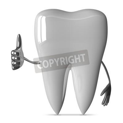 Naklejka Białe zęby charakter dając kciuk w górę na białym tle