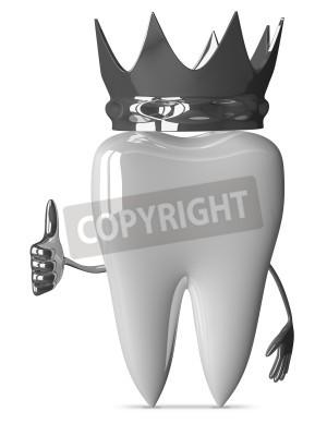 Naklejka Białe zęby postać z metalik korony daje kciuk na białym tle