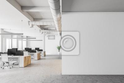 Naklejka Biały biuro otwarte wnętrze, makiety ściany
