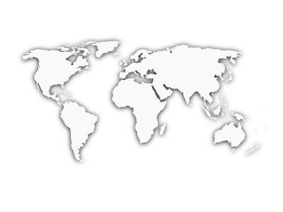 Naklejka Biały mapa świata z sylwetka