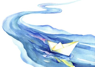 Naklejka Biały papier łodzi pływających w wodzie. Akwarela rzeki i statku na białym tle.