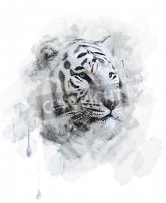 Naklejka Biały tygrys portret. digital Painting