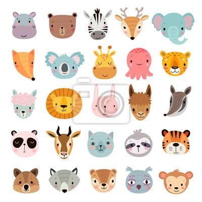 Naklejka Big animal set. Cute faces. Hand drawn characters.