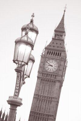 Naklejka Big Ben i latarni, Londyn w czerni i bieli Sepia Tone