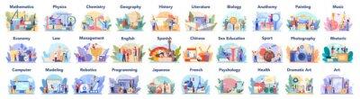 Naklejka Big school subject or educational class set. Student studying social