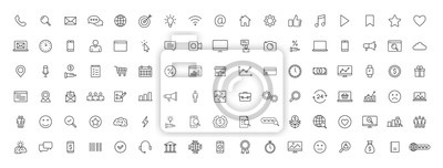 Naklejka Big set of 100 Business and Finance web icons in line style. Money, bank, contact, office, payment, strategy, accounting, infographic. Icon collection. Vector illustration.