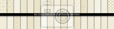 Naklejka Big set of 34 different vector ornamental seamless patterns. Collection of geometric patterns in the oriental style. Patterns added to the swatch panel.