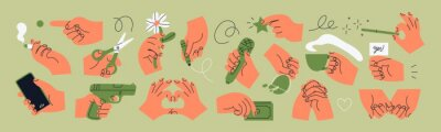 Naklejka Big set of Colorful Hands holding stuff. Different gestures. Hands with scissors, pen, money, wine glass, phone, cigarette, flower, cup. Hand drawn Vector illustration. All elements are isolated
