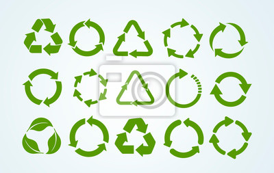 Naklejka Big set of Recycle icon. Recycle Recycling symbol. Vector illustration. Isolated on white background.