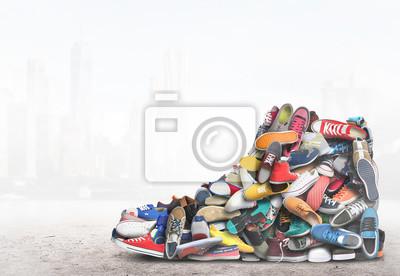 Naklejka Big sneaker made up of different sneakers