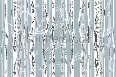 Naklejka Birch grove in autumn. Seamless vector pattern with trees and birds. Retro textile collection.