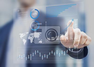 Naklejka Biznesmen dotykając deski rozdzielczej finansowe z kluczem wydajności w