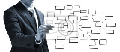 Biznesmen rysunek pusty diagram