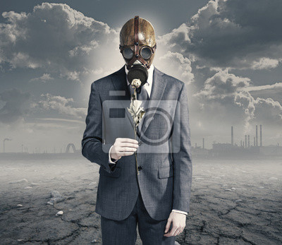Naklejka biznesmen z suszone płatki: pojęcie zanieczyszczonego środowiska