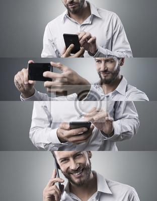 Biznesmen z telefonu inteligentnego, collage