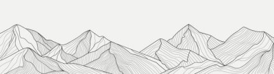 Naklejka Black and white mountain line arts wallpaper, luxury landscape background design for cover, invitation background, packaging design, fabric, and print. Vector illustration.