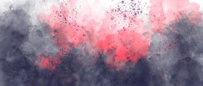Naklejka black fire red sky gradient watercolor background with clouds texture