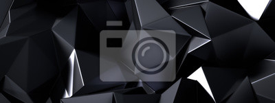 Naklejka Black gray background with crystals, triangles. 3d illustration, 3d rendering.