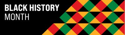 Naklejka Black History Month banner with geometric african style pattern illustration on black background. Black History Month vector banner design template.