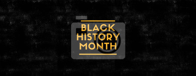 Naklejka Black History Month on black grungy background and yellow color
