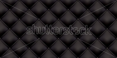 Naklejka Black leather upholstery pattern texture background. Vector vintage royal sofa leather upholstery with buttons seamless pattern