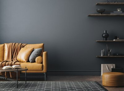 Naklejka Black living room interior with leather sofa, minimalist industrial style, 3d render