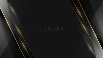 Naklejka Black luxury background along with golden line, technology minimal scene concept, empty space for text. 3d Vector illustration.