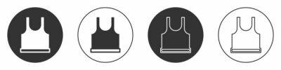Naklejka Black Sleeveless T-shirt icon isolated on white background. Circle button. Vector
