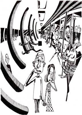 Naklejka BLACK & WHITE, ludzie w stacji metra