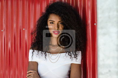 Naklejka Black woman with red lips looking at camera