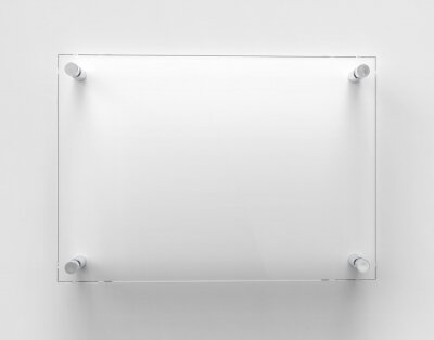 Naklejka Blank A4 transparent glass office corporate Signage plate Mock Up Template, Clear Printing Board For Branding, Logo. Transparent acrylic advertising signboard mockup front view. 3D rendering