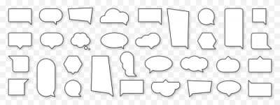 Naklejka Blank cartoon speech bubble set. Empty comics cloud sign collection. Thinking, speaking, talking balloon icon. Black and white outline comic style and shape. Isolated vector illustration.