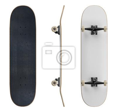 Naklejka Blank skateboard deck template mockup - isolated on white