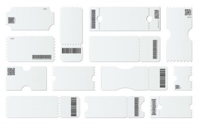 Blank ticket mockup. White tickets with barcodes, empty coupon and admit one ticket template vector set. Vouchers with tear off elements. Qr codes, identification. Raffles. Control pass