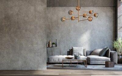 Naklejka Blank wall mockup in loft interior background, industrial style ,3d render