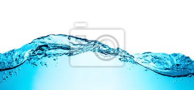 Naklejka Błękitna woda macha z bąbelami szczegółu tła tekstura odizolowywająca na wierzchołku. Duże zdjęcie w dużym rozmiarze.