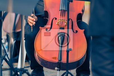 Naklejka bliska męskiej wiolonczelista gospodarstwa wiolonczela na koncercie na świeżym powietrzu